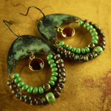 Tribal Hoop, Beaded Earrings, Tribal Jewelry, Garnet, Red, Rustic Earrings, Verdigris Patina