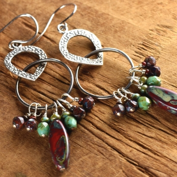 Long Dangle Earrings, Sterling Silver, Colorful Beaded Boho Earrings, Red, Green, Boho Tribal Jewelry
