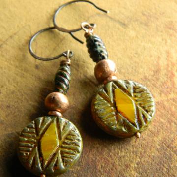 Tribal Geometric Earrings Copper Yellow Handmade Rustic Southwestern Bohemian Jewelry
