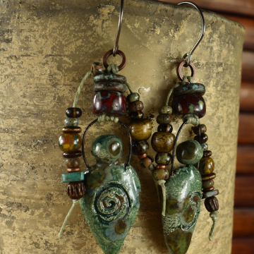 Primitive Goddess Earrings, Tribal Jewelry, Roman, Aged, Ancient, Pagan, Blue/Green, Beaded Earrings