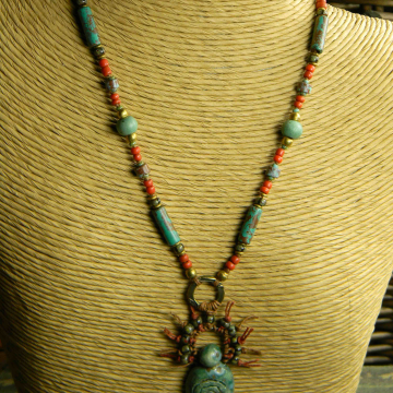 Tribal Goddess Pendant Necklace, African Necklace, Pagan Goddess Pendant, Blue/Green, Red
