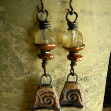 Golden Rutile Earrings Artisan Ceramic Boho Tribal Jewelry