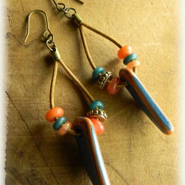 Tribal Hoop Earrings Boho Rustic Greek Blue Orange Handmade Beaded Jewelry