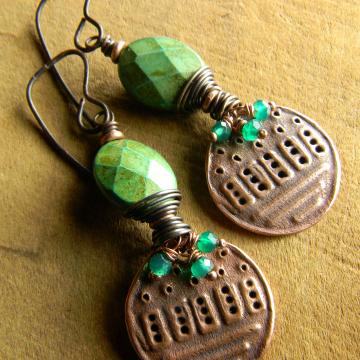 Boho Earrings, Green Turquoise Earrings, Tribal Jewelry, Green Onyx, Bohemian Jewelry, Southwest Copper Earrings