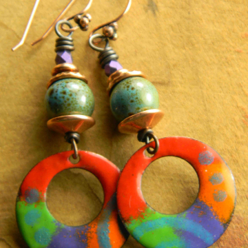 Bright Colorful Earrings, Woman's Earrings, Statement Earrings, Copper Enamel, Red, Green, Tribal Jewelry