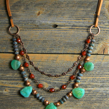 Southwestern Necklace, Boho Woman's Necklace, Green Agate Drops, Rustic Copper, Deerskin Leather