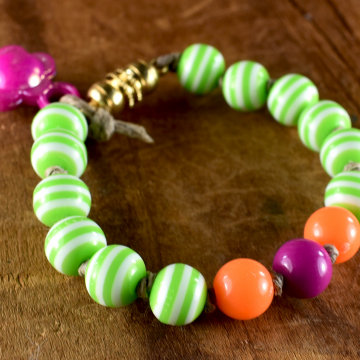 Striped Acrylic Beaded Toddler Bracelet, Tribal Tot, Little Girl Jewelry, First Jewelry