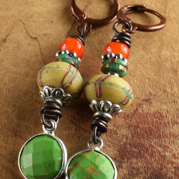 Green Turquoise Tribal Earrings, Venetian Trade Beadsl, Yellow, Orange, Sterling Silver, Colorful African Earrings
