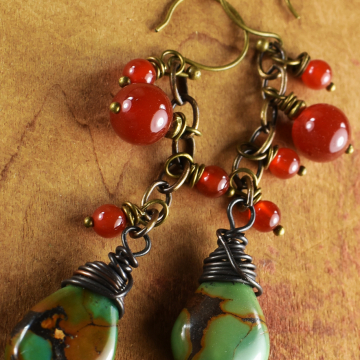 Green Turquoise Carnelian Earrings