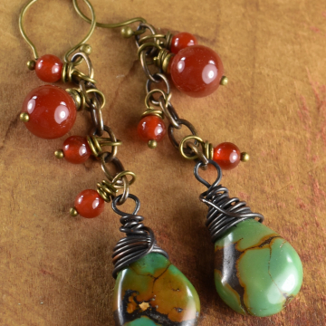 Green Turquoise Beaded Earrings, Boho, Rustic, Carnelian Earrings, Indian Summer Collection