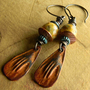Agate Earrings, Hand Earrings, Tribal Jewelry, Rustic Patina, Inviciti Earrings, Crazy Lace Agate