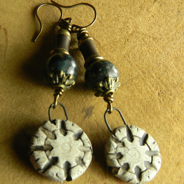 Chrysocolla Earrings, Tribal Jewelry, Artisan Ceramic, Ancient Look, Boho Earrings, White Earrings