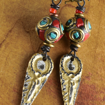Tribal Earrings, Tibetan Inlay Beads, Artisan Pewter, Turquoise, Coral, Antique White, Brass Earrings