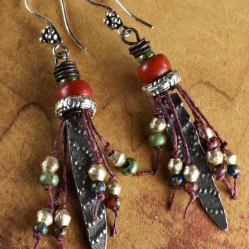 Tribal Fringe Earrings, African Trade Beads, Artisan Pewter, African Earrings, Red Padre Beads