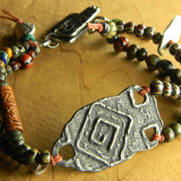 Tribal Bracelet, Ethiopia Silver, Yellow, Red, Striped Seed Beads, Inviciti, Tribal Jewelry