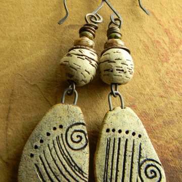 Tribal Earrings Artisan Natural Clay Primitive Drop Cave Drawing