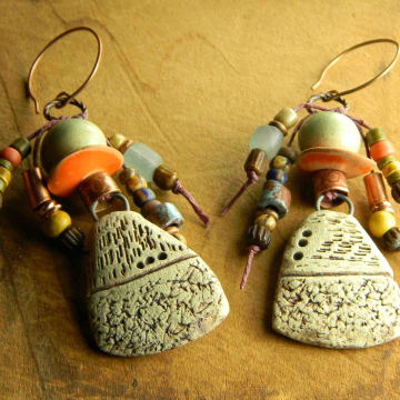 Primitive Drop Earrings, Mykonos Beaded, Tribal Jewelry, Aged, Ancient, Artisan Ceramic