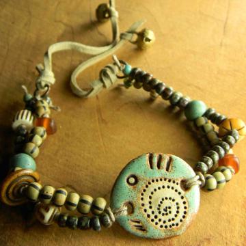 Primitive Bracelet, Trade Beads, Artisan Ceramic, Happy Fish Things, Tribal Jewelry