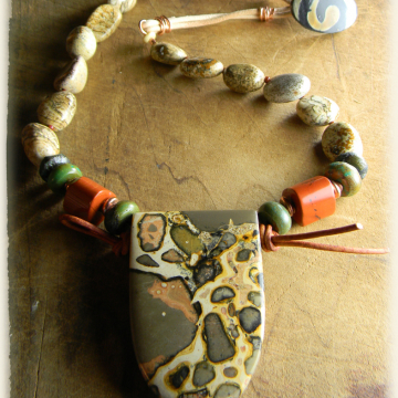 Tribal Jasper Necklace with Leather