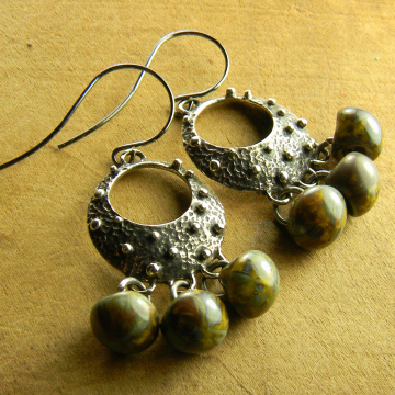 Tribal Jewelry Hoop Earrings Rustic Knobby Saki Silver Picasso Czech Yellow Drops