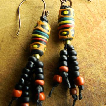 Black Krobo Fringe Earrings African Tribal Beaded Jewelry