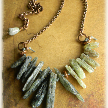 Green Kyanite Shard Necklace Rustic Copper Choker Bohemian Southwestern Tribal Jewelry