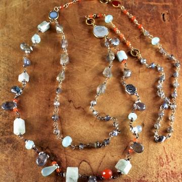 Labradorite Multi-Gemstone Linked Necklace, Druzy, Carnelian, Aquamarine, Topaz, Boho Tribal Jewelry