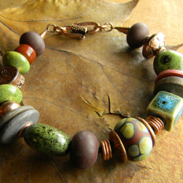 Dark Red Lampwork Bracelet Rustic Copper Green Ceramic Beaded Handmade OOAK Jewelry