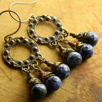 Knobby Hoop Earrings Saki Bronze Lapis Lazuli Rustic Tribal Bohemian Jewelry Handmade One of a Kind