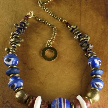 Igbo Brass Necklace, Tribal Necklace, African Choker Necklace, Lapis Lazuli, Blue Krobo, Handmade, Recycled Glass, Bone