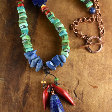 Lapis Lazuli Pendant, Beaded Necklace, Turquoise, Red Coral, African Trade Beads, Tribal Jewelry