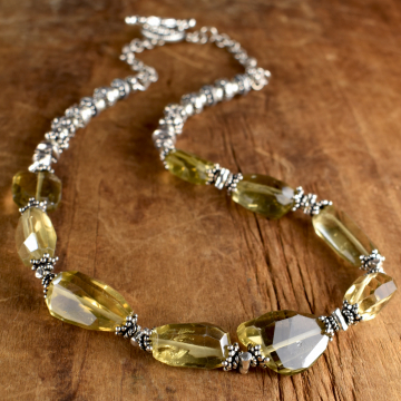 Lemon Quartz Choker Necklace, Pale Yellow, Sterling Silver, Faceted Nuggets, Boho Tribal Jewelry