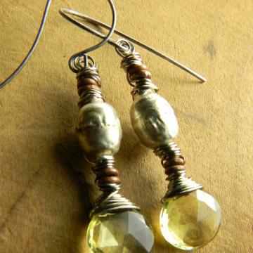 Lemon Topaz Teardrop Earrings, Pale Yellow, Ethiopian Silver, Copper, Boho Tribal Jewelry