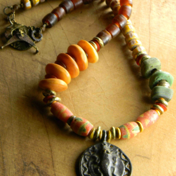 African Brass Beaded Necklace