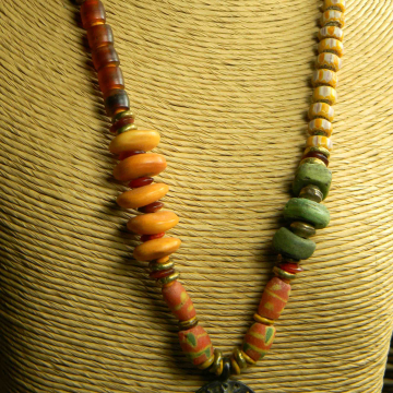 African Brass Pendant Necklace, Lizard Pendant, Tribal Necklace, Red Krobo, Green Hebron, Beaded Necklace