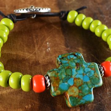 Turquoise Bracelet, Tribal Teen, Western Beaded Bracelet, Teen Jewelry, Boho Tribal Jewelry