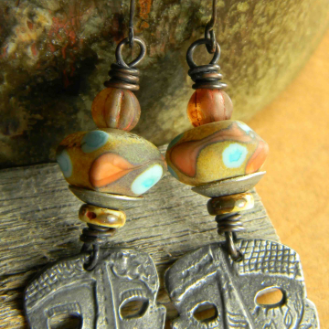 Tribal Mask Earrings, Inviciti, Carnival Earrings, Artisan Pewter Earrings, Orange, Turquoise