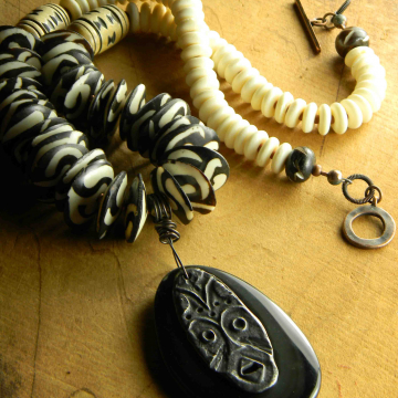 African Mask, Pendant Necklace, Black Obsidian, Batik Beads, Black and White, Inviciti Pendant, African Necklace