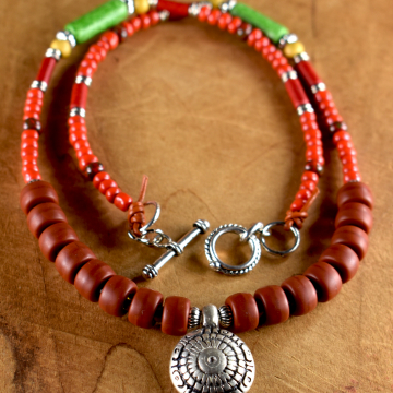 Tribal Necklace, Medallion Pendant, Teen Jewelry, Boho Necklace, Terracotta, Red Beaded