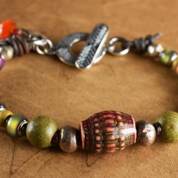 Mood Bead Bracelet, Mykonos Ceramic Beads, African Silver, Olive Green, Orange Yellow, Tribal Jewelry