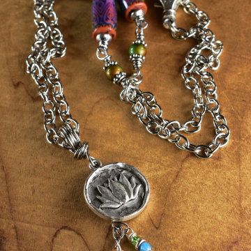Lotus Pendant Necklace with Mood Beads
