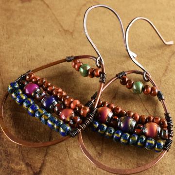 Mood Bead Tribal Earrings, Southwestern Hoop Earrings, Copper Teardrop, Hippie Earrings, Colorful Tribal Jewelry