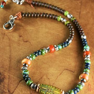 Tribal Mood Bead Choker Necklace, Mood Beads, Picasso Czech Glass, Hippie Necklace, Boho Jewelry