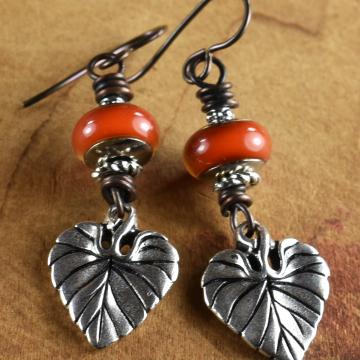 Mood Bead Dangle Earrings, Pewter Leaf, Flirty, In the Mood, Hippie Earrings, Beaded Tribal Jewelry