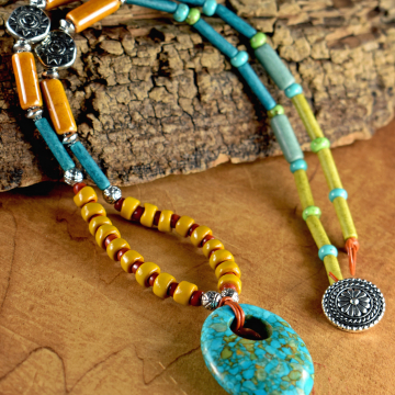 Turquoise Pendant Necklace, Yellow, Mosaic, Teen Necklace, Beaded Tribal Jewelry