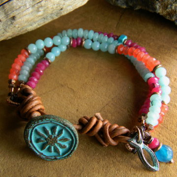 Amazonite and Jade Multi Bracelet