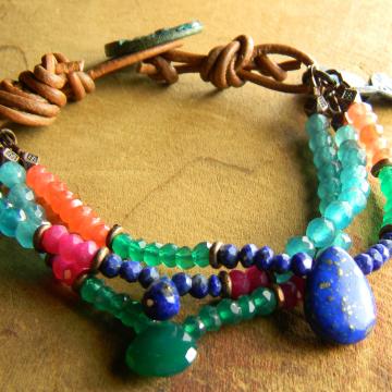 Boho Chic Jewelry Colorful Beaded Bracelet Blue Green Pink Orange Rustic Handmade OOAK Jewelry
