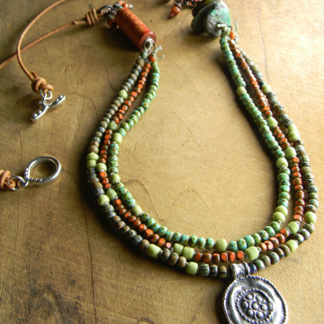 Mykonos Pewter Flower Pendant Necklace