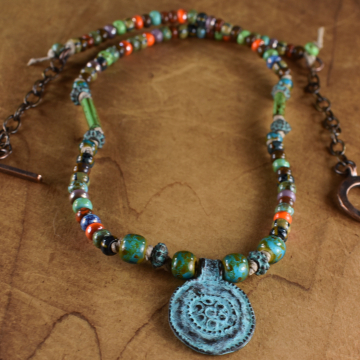 Mykonos Pendant Necklace, Tribal Teen, Colorful Beaded Necklace, Lotus, Verdigris Patina