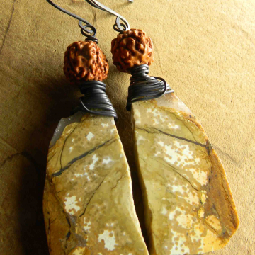 Tribal Earrings, Jasper Matched Stones, Statement Earrings, Rudraksha, Copper Wire Wrapped, Bodhi Prayer Bead